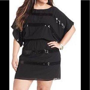JESSICA SIMPSON black sequin mini dress M